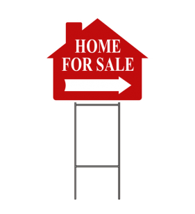 HOME FOR SALE SIGN W-FRAME RED