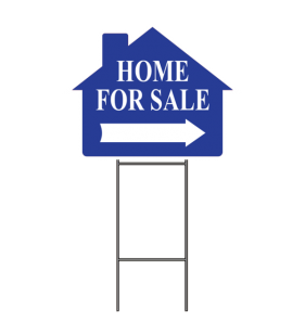 HOME FOR SALE SIGN W-FRAME BLUE
