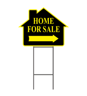 HOME FOR SALE SIGN W-FRAME YELLOW
