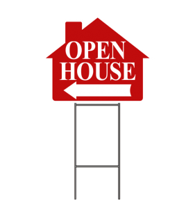OPEN HOUSE SIGN W-FRAME RED