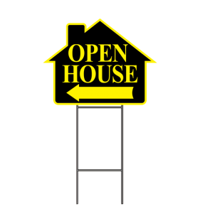 OPEN HOUSE SIGN W-FRAME YELLOW