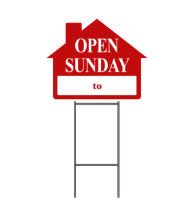 OPEN SUN._ TO _ SIGN W-FRAME RED