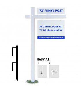 2PC VINYL POST WITH 36in ARM WHT