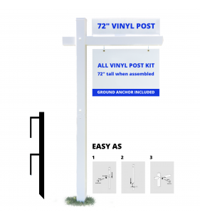 3PC VINYL POST WITH 36in ARM WHT