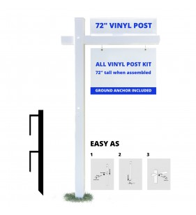 3PC VINYL POST WITH 48in ARM WHT
