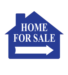 HOUSE SHAPE SIGN BLUE HOME 4 SALE NO FRM