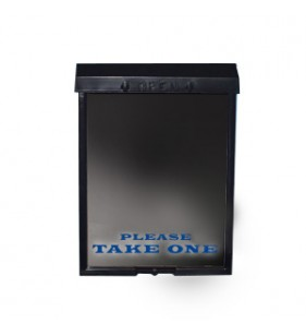 BLACK BROCHURE BOX W-BLUE LETTERS