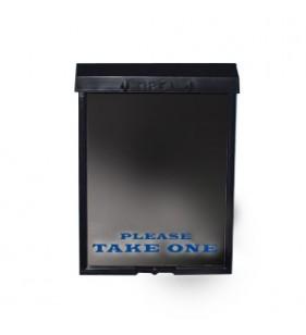 BLACK BROCHURE BOX W-BLUE LETTERS